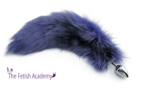 "17""-18"" Orchid Dyed Platinum Fox Tail Butt Plug"