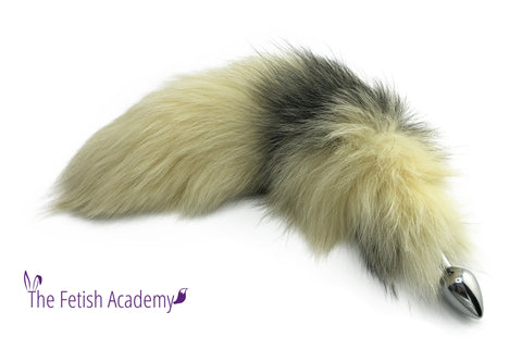 "18""-20"" Pale Yellow Dyed Platinum Fox Tail Butt Plug"