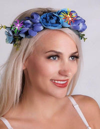 Flower Headpiece with LED's Blue Multi-CARNIVAL wear - THE FETISH ACADEMY