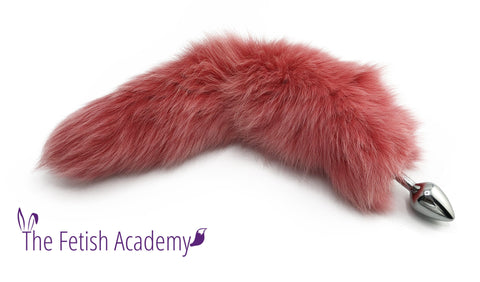 "15""-18"" Pink Dyed White Fox Tail Butt Plug"