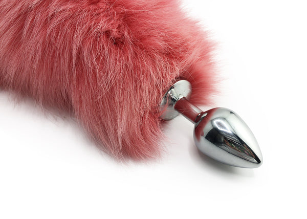 "15""-18"" Pink Dyed White Fox Tail Butt Plug - Stainless Steel"