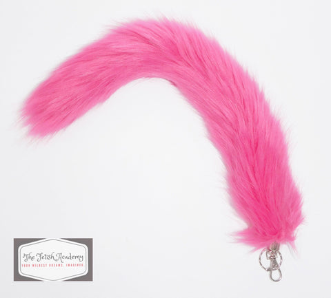 FAUX Fox Fur Clip on Tail with Key Chain - Fuchsia - THE FETISH ACADEMY