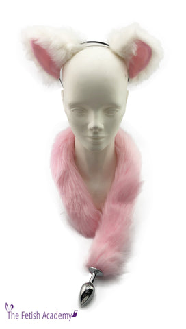 "White and Pink Faux Fox Ears and Long Tail Set - 30"" Pink Tail"