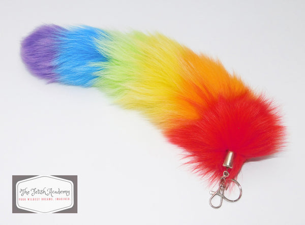 REAL Fox Fur Clip on Tail with Key Chain - Rainbow Pride - THE FETISH ACADEMY