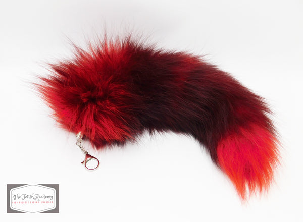 REAL Fox Fur Clip on Tail - Red and Black Gradient - THE FETISH ACADEMY