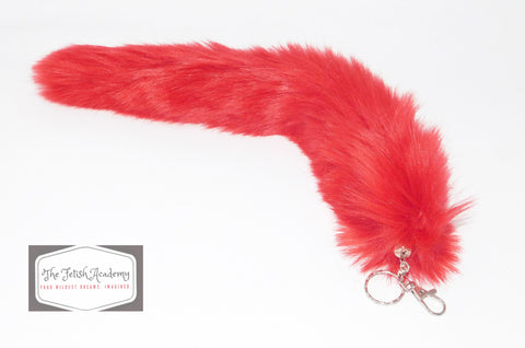 FAUX Fox Fur Clip on Tail with Key Chain - Red - THE FETISH ACADEMY