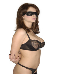 Blacked Out Padded Leather Blindfold - TFA