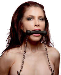 Equine Silicone Bit Gag with Nipple Clamps - THE FETISH ACADEMY