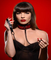 Crimson Tied Collar with Leash - THE FETISH ACADEMY