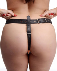 Slim Leather Strap On Harness Kit with Dildo - THE FETISH ACADEMY