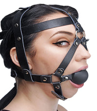 Leather Head Harness with Ball Gag - THE FETISH ACADEMY