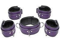 Purple 5 Piece Locking Leather Bondage Set - THE FETISH ACADEMY
