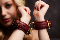 Strict Leather Luxury Burgundy Locking Collar - THE FETISH ACADEMY