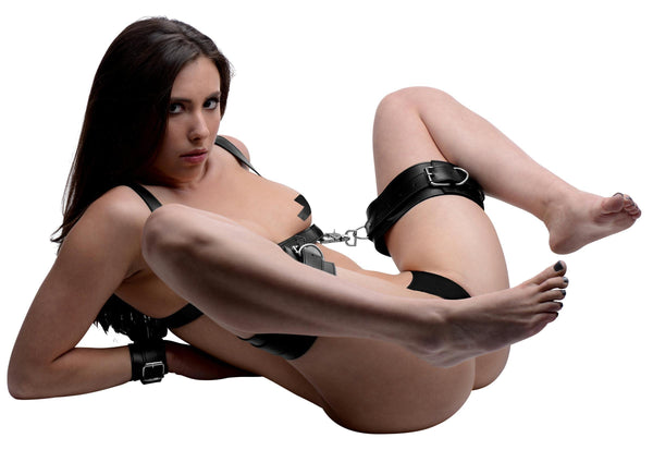 Deluxe Thigh Sling With Wrist Cuffs - THE FETISH ACADEMY