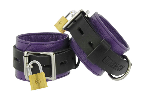 Strict Leather Purple and Black Deluxe Locking Wrist Cuffs - THE FETISH ACADEMY