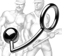 Tom of Finland Stainless Steel Cock Ring with Anal Ball- Blemished - THE FETISH ACADEMY