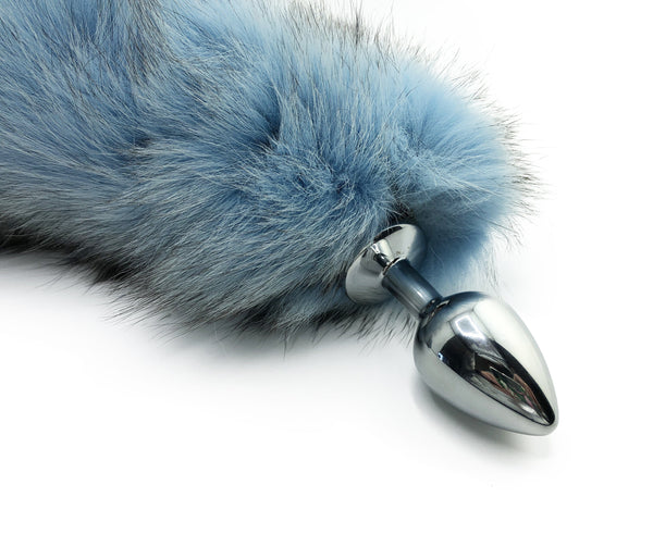 "14""-16"" Sky Blue Dyed Platinum Fox Tail Butt Plug - Stainless Steel"