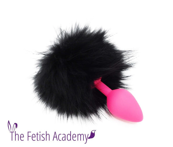 Black Dyed Raccoon Fur Bunny Tail Butt Plug - Pink Silicone