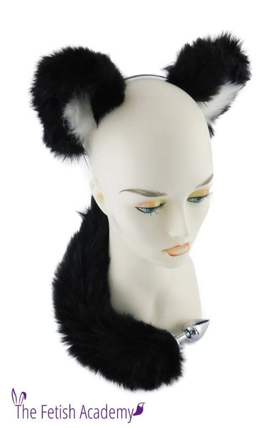 Black FAUX Wolf Tail and Ears Set