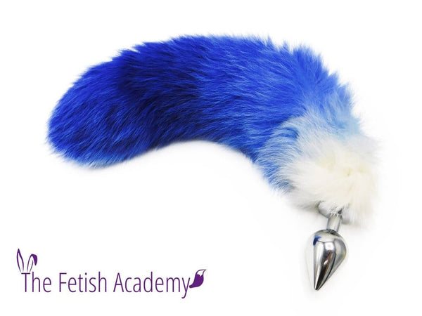 "14""-16"" Dyed White Fox Tail Butt Plug - Blue Gradient"