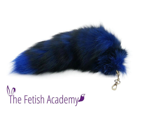 "18"" Blue Dyed Silver Fox Clip on Tail"
