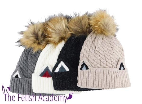 Knitted Cat Ear Beanie with Removable Pom - THE FETISH ACADEMY