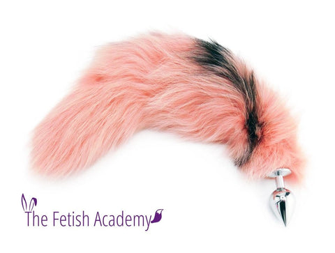 "20""-22"" LIMITED EDITION Dyed Platinum Fox Tail Butt Plug - Flamingo Pink"
