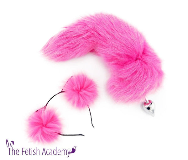 Fuchsia Dyed Fox Tail Butt Plug and Ears Set