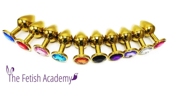 GOLDEN Stainless Steel Jeweled Butt Plug - THE FETISH ACADEMY