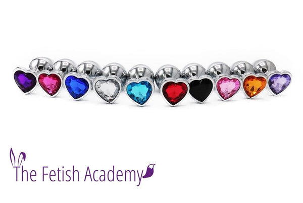 Heart Jeweled Stainless Steel Princess Butt Plug - THE FETISH ACADEMY