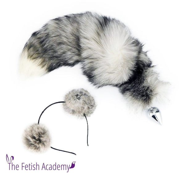 Genuine Indigo Fox Tail Butt Plug and Ears Set - THE FETISH ACADEMY