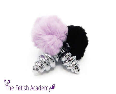 FAUX Fur Bunny Tails With Spiral Stainless Steel Plug