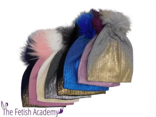 Metallic Gradient CASHMERE Beanie with Fur Pom - THE FETISH ACADEMY