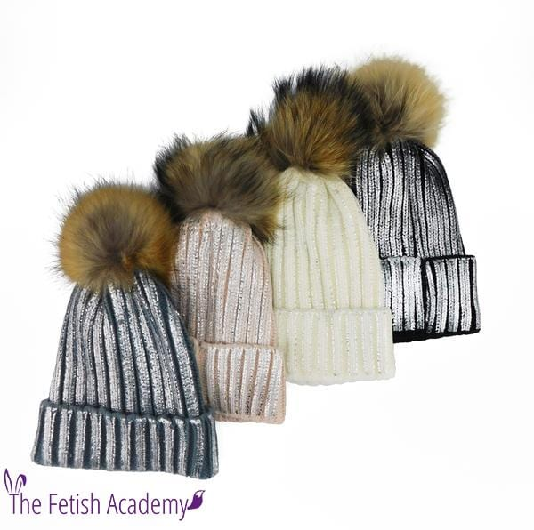 Metallic Striped Knitted Beanie with Removable Fur Pom - THE FETISH ACADEMY