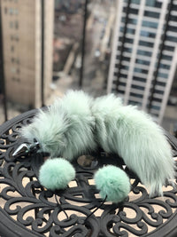 Mint Dyed Platinum Fox Tail Butt Plug and Ears Set - THE FETISH ACADEMY