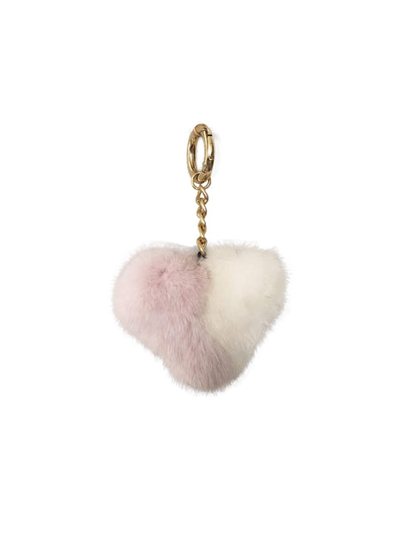 Mink Fur Heart Clip on Keychain - Lavender