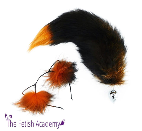 Orange Silver Fox Tail Butt Plug and Ears Set