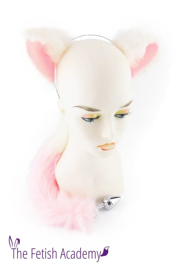White and Pink Faux Wolf Tail and Ears Set - THE FETISH ACADEMY
