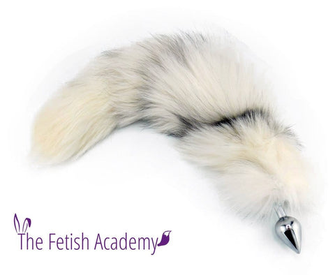 "20""-22"" Genuine Platinum Fox Tail Butt Plug"