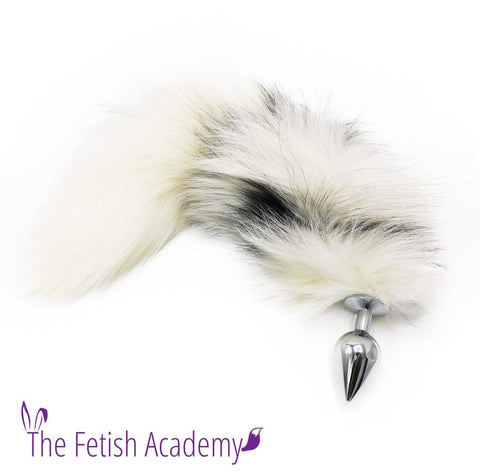 "14""-16"" Genuine Platinum Fox Tail Butt Plug - Extremely Fluffy!"