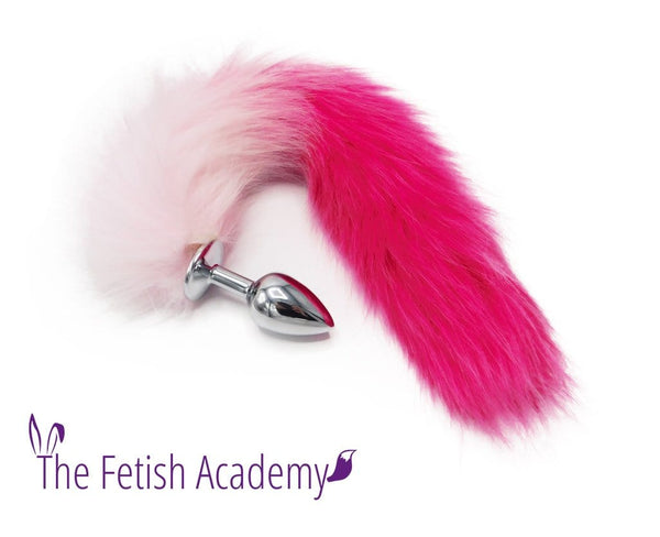 "14"" Pink Gradient FAUX Fox Tail Butt Plug"