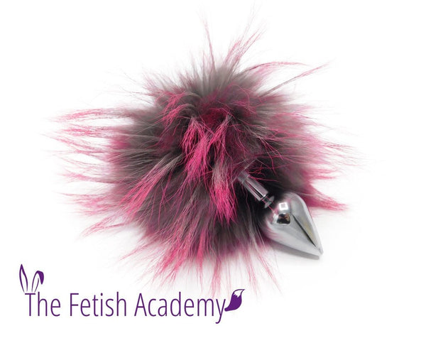 Pink Dyed Raccoon Fur Bunny Tail Butt Plug - Stainless Steel