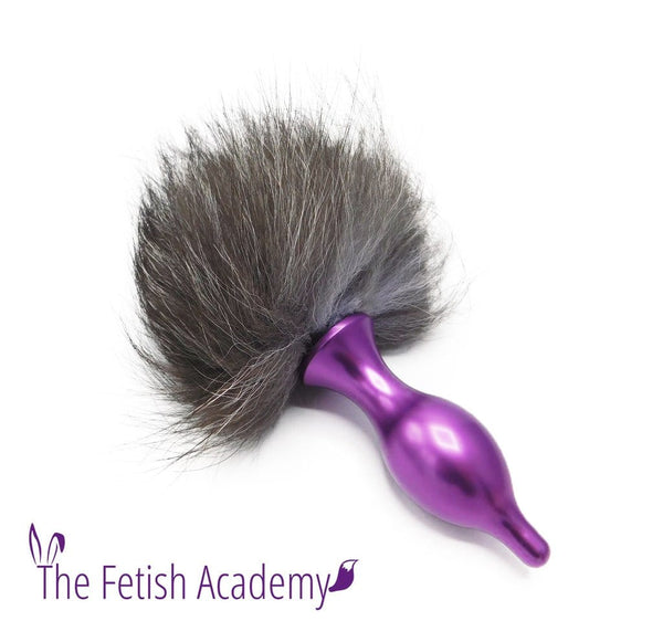 Silver Fox Fur Bunny Tail Butt Plug - THE FETISH ACADEMY