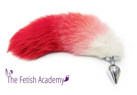 "14""-16"" Dyed White Fox Tail Butt Plug - Red Gradient"