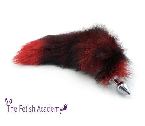 "15"" Red Dyed Silver Fox Tail Butt Plug"