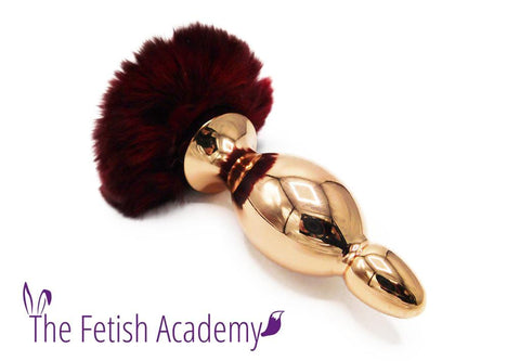 Red Rose Bunny Tail Rose Gold Butt Plug