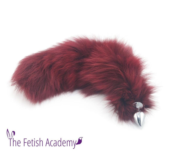 "21"" Dyed Platinum Fox Tail Butt Plug - Ruby Red"