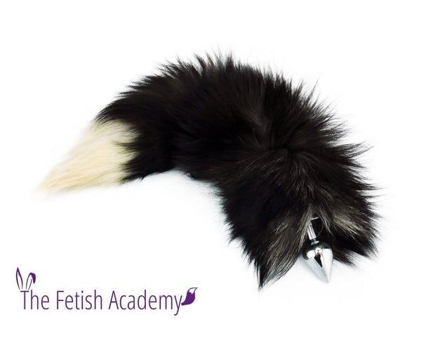"17""-19"" Genuine Silver Fox Tail Butt Plug - Extremely Fluffy!"