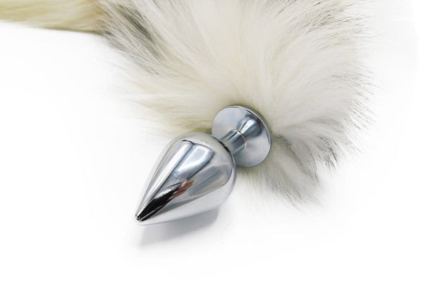 "14""-16"" Genuine Platinum Fox Tail Butt Plug - Stainless Steel"