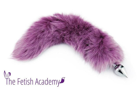 "16""-18"" Stunning Violet Dyed White Fox Tail Butt Plug"